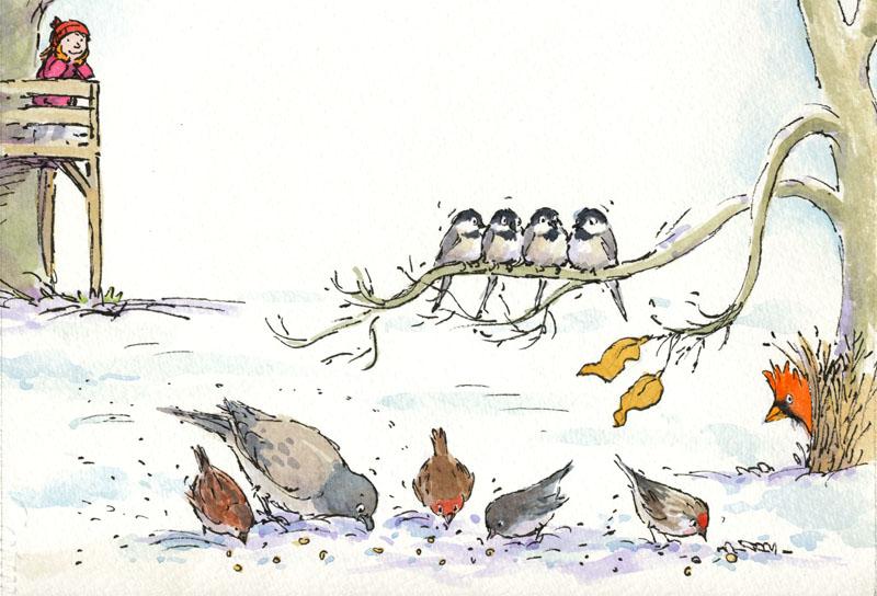 Winter birds - size:  230 x 210