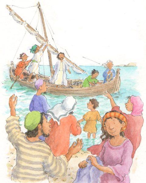 Jesus comes ashore - size: 140 x 180 150 x 180