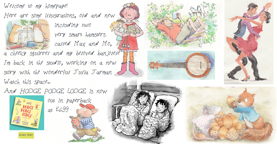 Priscilla Lamont is a children's book illustrator based in Faversham Kent, she sells greetings cards and prints, and also enjoys portrait drawing. She plays ukulele and sings with the Market Strummers